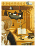 Book on Lectern, Writing Material, Annunciation, Verdu Retable, 1430-61, Llieda School, Detail Giclee Print by Jaime Ferrer