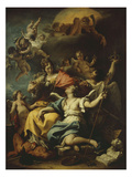 Allegory of France Below Minerva, Who Treads on Ignorance and Crowns Virtue, 1717-18 Giclée-tryk af Sebastiano Ricci