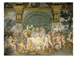 Assembly of the Gods, Fresco, 1525-35 Giclée-tryk af Giulio Romano