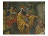 Ahasuerus, King of Persia, Esther and Ahasuerus, Fresco, 1876, Detail Giclee Print by Cesare Mariani