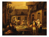 Evening Meal, from Les 4 Heures De La Journée, Le Soir (The Four Stages of the Day) Lámina giclée por Francois Louis Joseph Watteau