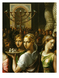 Interior of the Temple of Jerusalem with Menorah and Couple Carrying a Basket of Doves Giclee Print by Giulio Romano