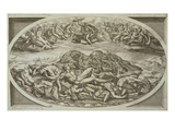 The Titans Struck Down, Engraving by Carlo Losi, 1773 Giclée-tryk af Italian School