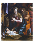 Virgin and Child, Adoration of the Shepherds with Saint Longin and Saint John the Evangelist Giclee Print by Giulio Romano