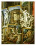 Laocoon, the Borghese Vase and Silenius Carrying the Infant Dionysos Giclee Print by Giovanni Paolo Pannini