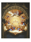 Sunrise on the New Testament, the Eucharist in a Monstrance Carried by Two Angels Giclée-tryk af Italian School