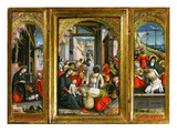 Nativity; Adoration of the Magi and Christ at the Sepulchre; Triptych, 1523 (Inv 1040) Giclee Print by Defendente Ferrari