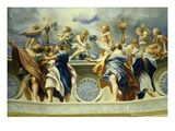 Angels and Apostles Plan for Cupola of Parma Cathedral Watercolour on Card Giclee Print by Paolo Toschi