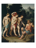 Judgement of Paris, (Trojan Prince Judging the Most Beautiful of Goddesses Juno, Minerva, Venus) Reproduction procédé giclée par Juan Juanes