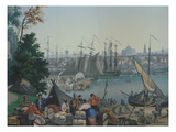 The Port of Boston in the United States of America, Painted Wallpaper, Made by Zuber at Mulhouse Giclee Print