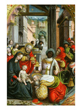 Adoration of the Magi, Triptych, 1523 (Inv 1040), Central Panel, Detail Giclee Print by Defendente Ferrari