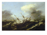 Ships in a Storm, 17th Century Giclee Print by  Dutch School