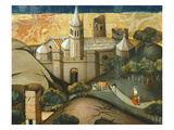 Landscape with Church, the Flight into Egypt, Verdu Retable, 1430-61, Llieda School, Detail Giclee Print by Jaime Ferrer
