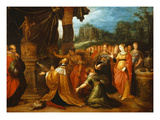 Solomon Worshipping Idols, Painted Wooden Panel, Signed and Dated 1616 Giclee Print by Frans II Francken