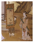 Presenting a Painting, from Elegant Pastimes, Japanese Screen, Edo Period, Early 18th Century Reproduction proc&#233;d&#233; gicl&#233;e par Kano Tansetsu