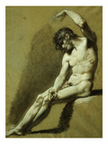 Male Nude, Pencil and Chalk Drawing Giclee Print by Pierre-paul Prudhon