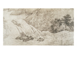 Landscape with Waterfall, Ink on Silk Giclee Print by Kano Motonobu