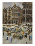 Flower Market in the Grand Place, Brussels, Undated Giclee Print by Ketty Gilsou-Hoppe