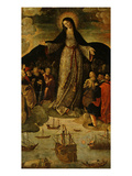 Virgin of the Navigators, Altarpiece (Central Panel) Premium Giclee Print by Alejo Fernandez