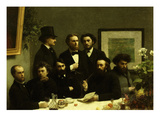 Coin De Table with Portraits of Paul Verlaine and Arthur Rimbaud (Entire Picture) Giclee Print by Henri Fantin-Latour