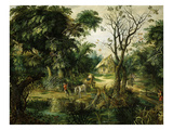 Landscape with Peasants Giclee Print by Alexander Kerinex