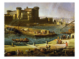 Castle and the Docks, Arsenal at Naples, 1711 (Inv 70), Detail Giclée-Druck von Gaspar van Wittel
