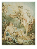 Diana and Endymion, Drawing, 18th Century Giclee Print by Jean-Baptiste Huet