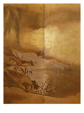 Landscape, Japanese Screen, Edo Period, Early 18th Century, Detail Giclee Print by Kano Tansetsu