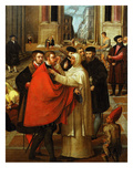Street Scene with a Monk Caring for a Nobleman Wounded in the Eye Giclee Print by Antonio Badile