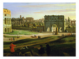 Triumphal Arch, View of the Colosseum and the Roman Forum (Inv 884), Detail Giclee Print by Gaspar van Wittel
