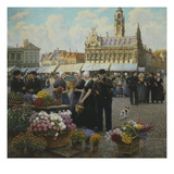 Flower Market, Middleberg, Holland, Undated Giclee Print by Henri Houben