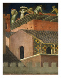 Effects of Good Government in the City Detail of Roofers, Fresco (1338-40) Giclee Print by Ambrogio Lorenzetti