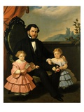 Father and Two Daughters, 1858 Giclee Print by Baldassare Verazzi