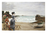Elegant Ladies on the Beach, Undated Giclee Print by Jules-Charles Aviat