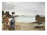 Elegant Ladies on the Beach, Undated Premium Giclee Print by Jules-Charles Aviat