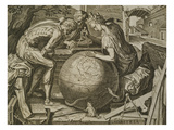 Allegory of Geometry, Engraving by F Floris, 16th Century Giclee Print by  Flemish School