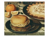 Bread Roll on Pewter Plate, Detail of Table with a Pastry Crust Chicken and Olives Giclee Print by Clara Peeters