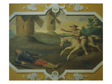 Don Quixote and Sancho Battle the Windmills Giclee Print by Jean Mosnier