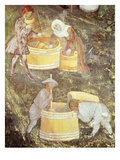 Grape Harvest, October, from Cycle of Months, Fresco, 15th Century, Buonconsiglio Castle Giclee Print by  Venceslao