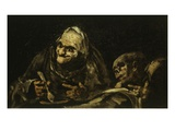 Two Old People Eating Soup 1819 Black Painting 53X85Cm Giclee Print by Francisco de Goya