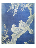 Two Doves on a Bough, from 10 Panel Screen, 19th Century, Choson Period, Coloured Silk, Korea Giclee Print by Han-Ch'ol Yi