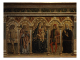 Madonna and Child with Saints Sebastian, Fortunatus, Sevesus and Clare of Montefalco, 1488 Giclee Print by Francesco Melanzio
