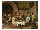 The King Drinks, Part of Flemish Festival Giclee Print by David Teniers the Younger