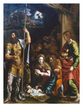 Adoration of the Shepherds with Saint Longin and Saint John the Evangelist, C.1532-32 Giclée-tryk af Giulio Romano