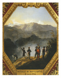 View of the Heights of Montenotte, Generals Massena and Laharpe Observe the Attack, April 11, 1796 Giclee Print by Jacques Guiaud