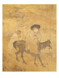 Woman on Horseback Followed by Her Servant, from Genre Scenes Giclee Print by Hong-Do Kim