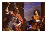 Saul Contro David (Saul Attacking David) Lámina giclée por Guercino (Giovanni Francesco Barbieri)