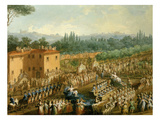 Procession of Floats and Musicians, from Open-Air Festival, C. 1790, Italy (Detail), Watercolour Giclee Print by Giuseppe Terreni