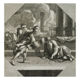 Archimedes Drawing Geometric Figures During the Sacking of Syracuse Giclee Print by Sebastien Bourdon