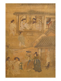 Interior and Street Scenes, from Genre Scenes, 8 Panel Screen, Ink and Colour on Silk, Korea Giclee Print by Hong-Do Kim